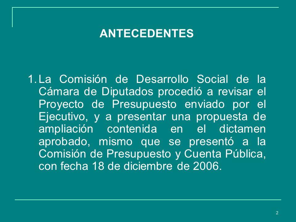 2 ANTECEDENTES 1.La Comisión de Desarrollo Social de la Cámara de Diputados procedió a revisar el Proyecto de Presupuesto enviado por el Ejecutivo, y a presentar una propuesta de ampliación contenida en el dictamen aprobado, mismo que se presentó a la Comisión de Presupuesto y Cuenta Pública, con fecha 18 de diciembre de 2006.