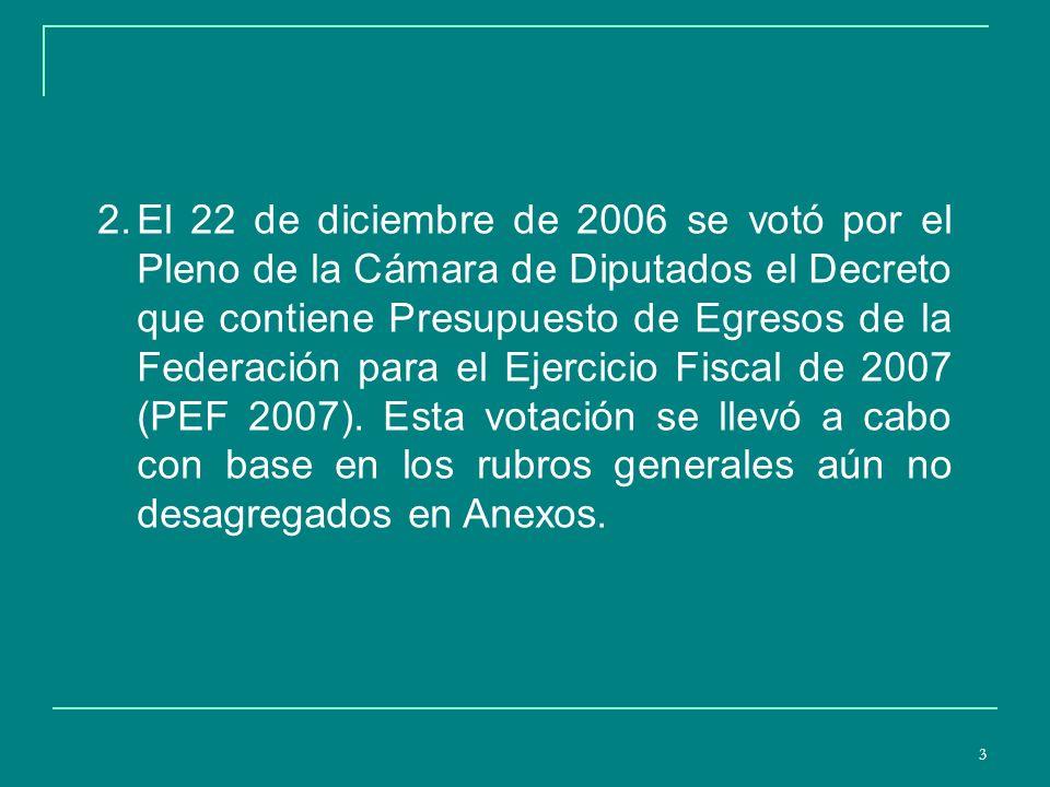 4 3.En el Decreto del PEF 2007 publicado en el Diario Oficial de la Federación el 28 de diciembre de 2006, al igual que el dictamen aprobado en el Pleno, se le asigna al Ramo 20 de SEDESOL la cantidad de 35108.4 millones de pesos, cifra superior en 7481.9 millones de pesos a los 27626.5 presupuestados en el Proyecto del Ejecutivo.