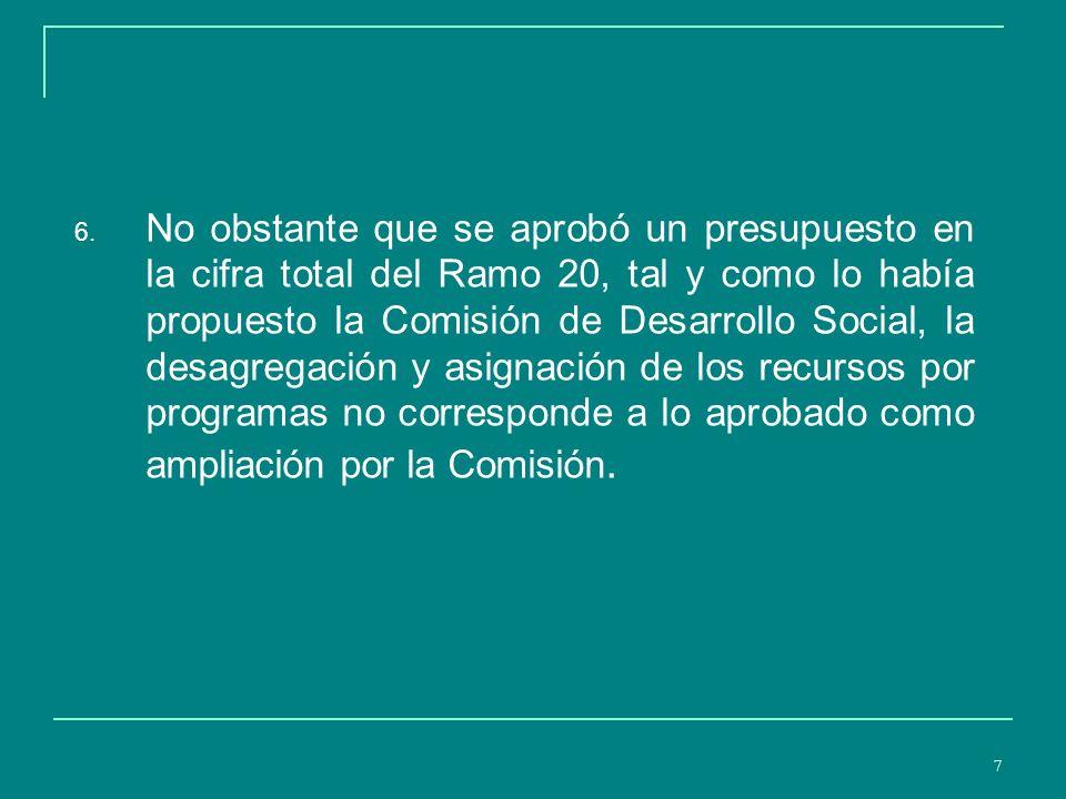8 Diferencias del PEF 2007 con lo aprobado por la Comisión de Desarrollo Social para el Ramo 20