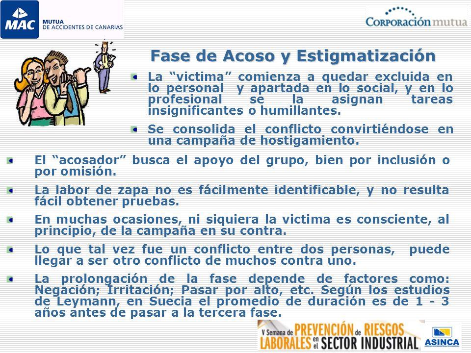 La victima comienza a quedar excluida en lo personal y apartada en lo social, y en lo profesional se la asignan tareas insignificantes o humillantes.