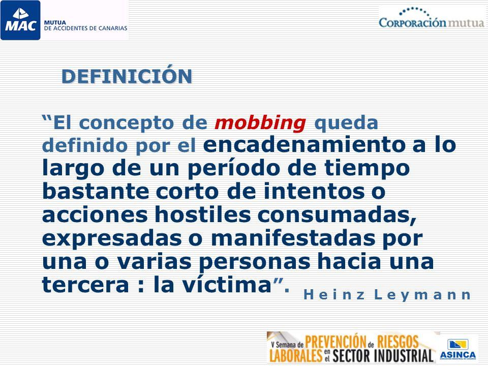 El concepto de mobbing queda definido por el encadenamiento a lo largo de un período de tiempo bastante corto de intentos o acciones hostiles consumad