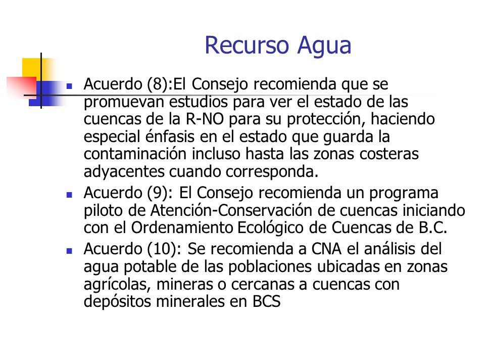Recurso Agua Acuerdo (8):El Consejo recomienda que se promuevan estudios para ver el estado de las cuencas de la R-NO para su protección, haciendo especial énfasis en el estado que guarda la contaminación incluso hasta las zonas costeras adyacentes cuando corresponda.