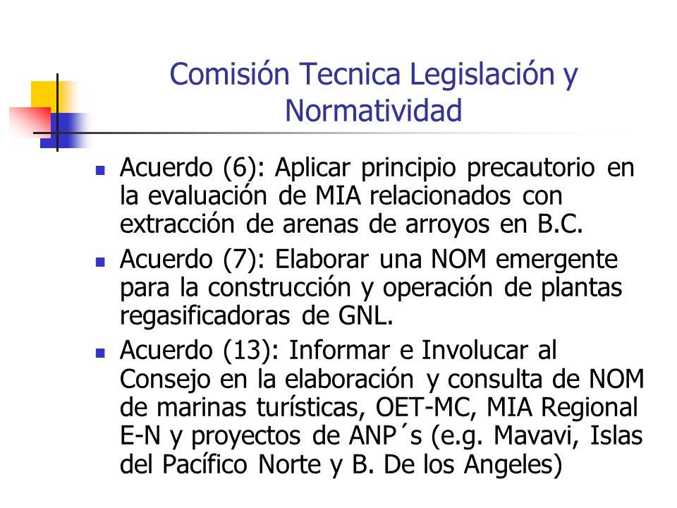 Comisión Tecnica Legislación y Normatividad Acuerdo (6): Aplicar principio precautorio en la evaluación de MIA relacionados con extracción de arenas de arroyos en B.C.