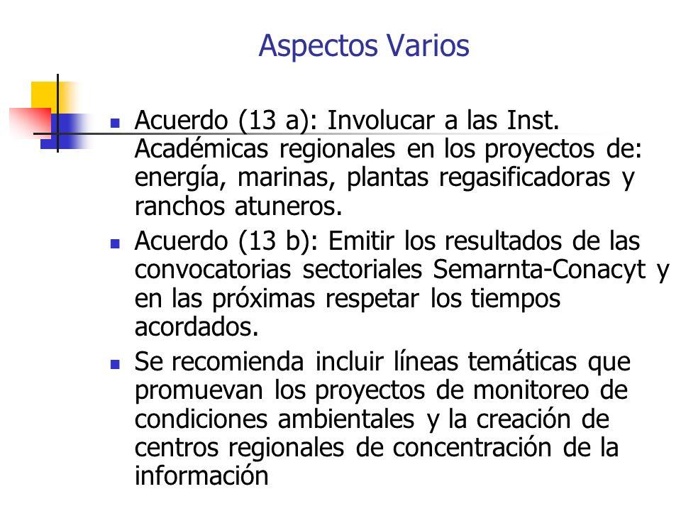 Aspectos Varios Acuerdo (13 a): Involucar a las Inst.