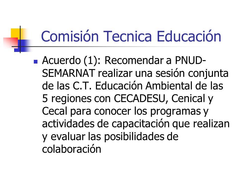 Comisión Tecnica Educación Acuerdo (1): Recomendar a PNUD- SEMARNAT realizar una sesión conjunta de las C.T.