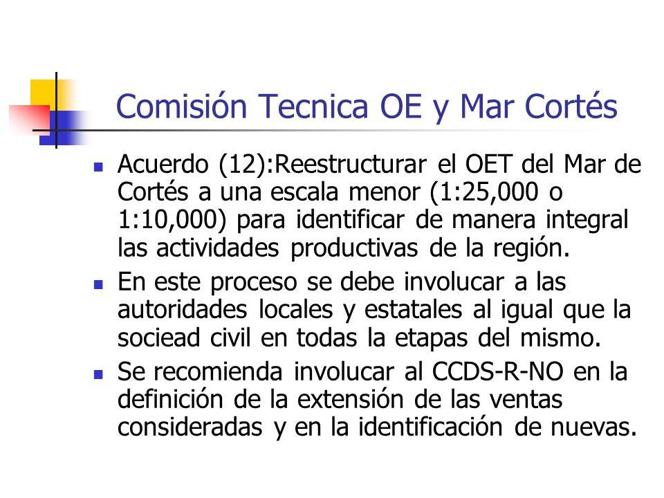 Comisión Tecnica OE y Mar Cortés Acuerdo (12):Reestructurar el OET del Mar de Cortés a una escala menor (1:25,000 o 1:10,000) para identificar de manera integral las actividades productivas de la región.