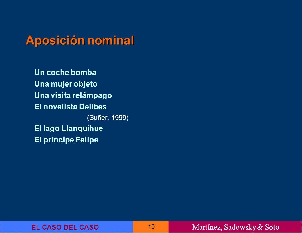 10 EL CASO DEL CASO Martínez, Sadowsky & Soto Aposición nominal Un coche bomba Una mujer objeto Una visita relámpago El novelista Delibes (Suñer, 1999