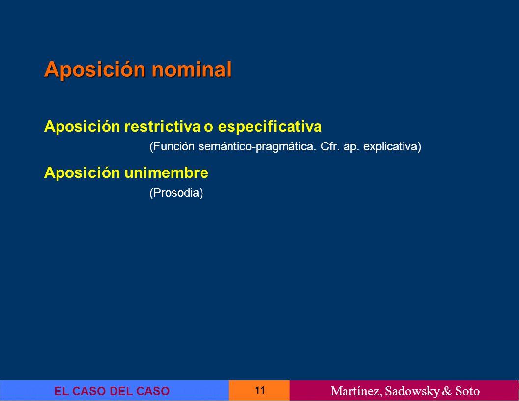 11 EL CASO DEL CASO Martínez, Sadowsky & Soto Aposición nominal Aposición restrictiva o especificativa (Función semántico-pragmática. Cfr. ap. explica