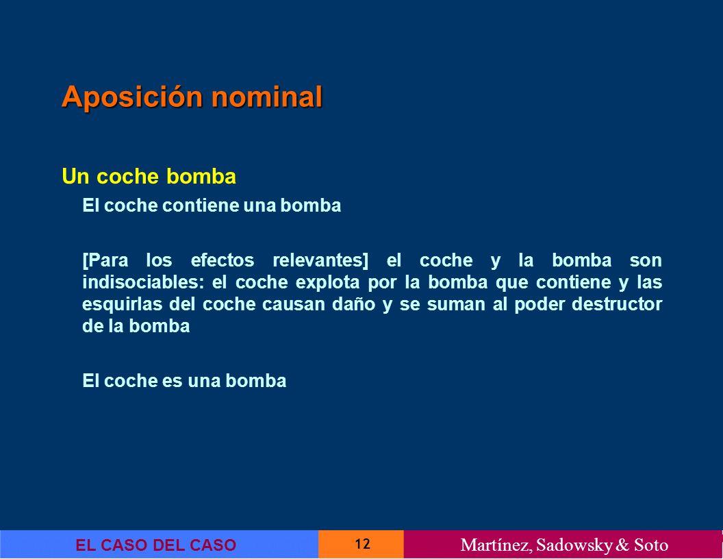 12 EL CASO DEL CASO Martínez, Sadowsky & Soto Aposición nominal Un coche bomba El coche contiene una bomba [Para los efectos relevantes] el coche y la