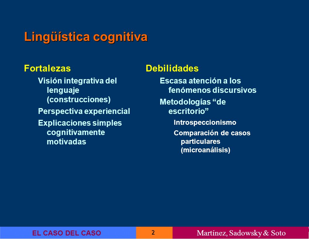 2 EL CASO DEL CASO Martínez, Sadowsky & Soto Lingüística cognitiva Fortalezas Visión integrativa del lenguaje (construcciones) Perspectiva experiencia