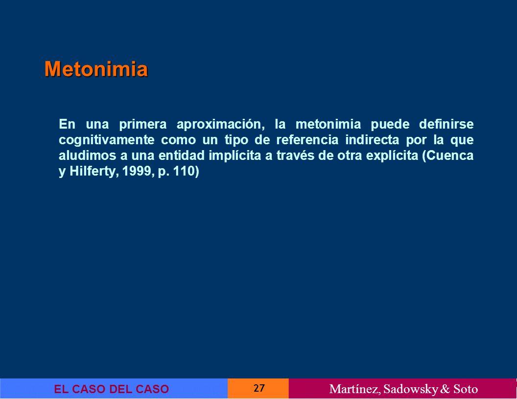 27 EL CASO DEL CASO Martínez, Sadowsky & Soto Metonimia En una primera aproximación, la metonimia puede definirse cognitivamente como un tipo de refer