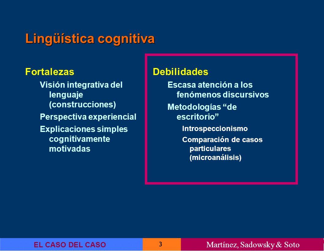 3 EL CASO DEL CASO Martínez, Sadowsky & Soto Lingüística cognitiva Fortalezas Visión integrativa del lenguaje (construcciones) Perspectiva experiencia