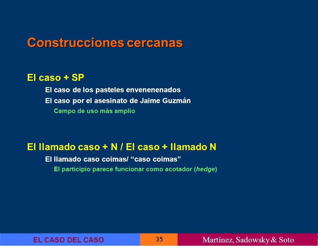 35 EL CASO DEL CASO Martínez, Sadowsky & Soto Construcciones cercanas El caso + SP El caso de los pasteles envenenenados El caso por el asesinato de J