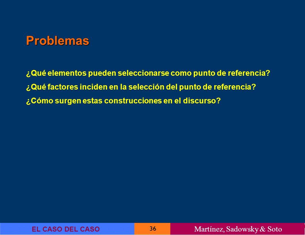 36 EL CASO DEL CASO Martínez, Sadowsky & Soto Problemas ¿Qué elementos pueden seleccionarse como punto de referencia? ¿Qué factores inciden en la sele