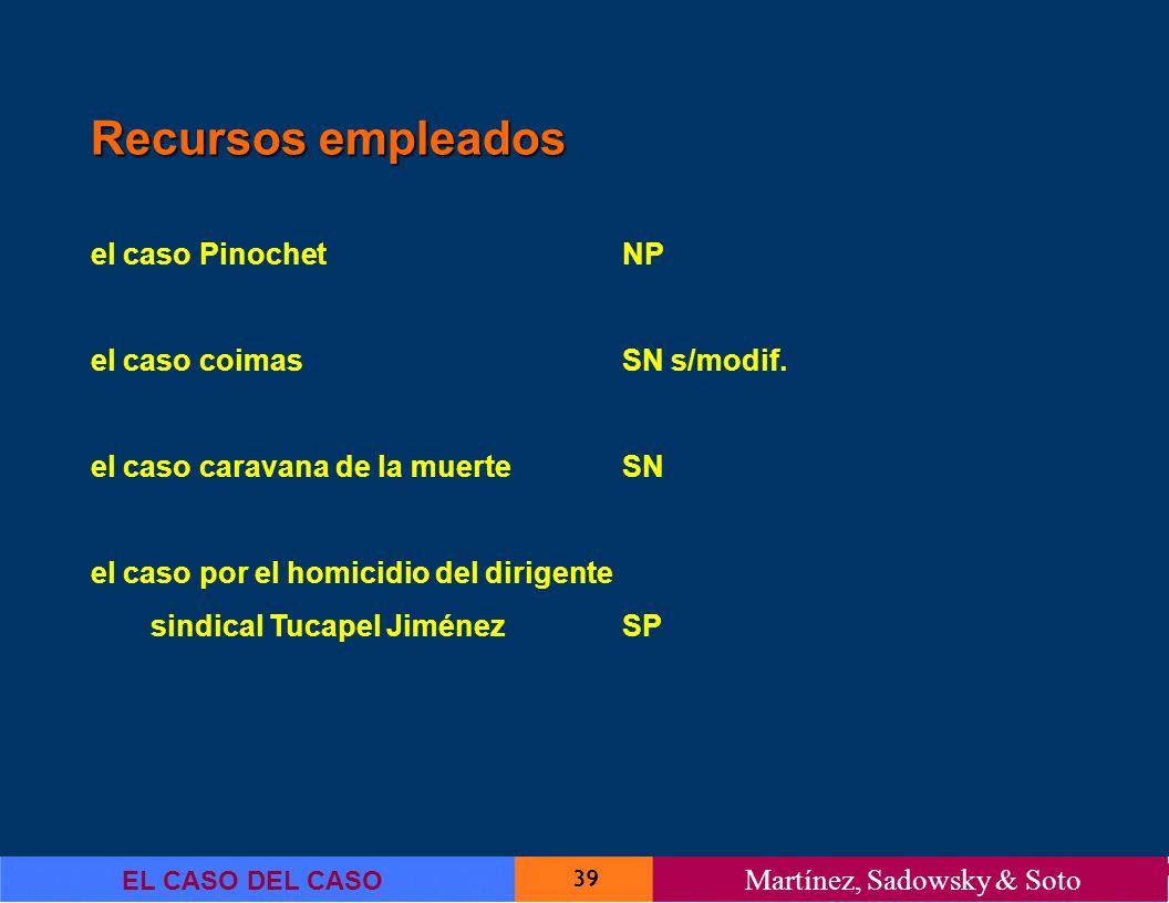 39 EL CASO DEL CASO Martínez, Sadowsky & Soto Recursos empleados el caso PinochetNP el caso coimasSN s/modif. el caso caravana de la muerteSN el caso