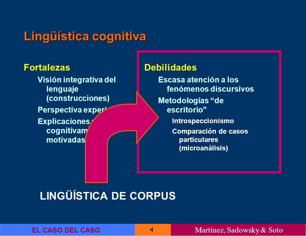 4 EL CASO DEL CASO Martínez, Sadowsky & Soto Lingüística cognitiva Fortalezas Visión integrativa del lenguaje (construcciones) Perspectiva experiencia