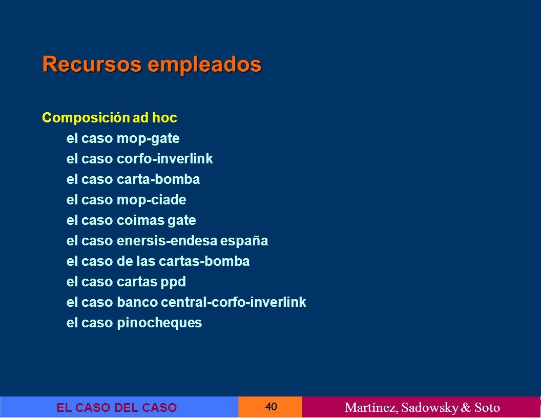 40 EL CASO DEL CASO Martínez, Sadowsky & Soto Recursos empleados Composición ad hoc el caso mop-gate el caso corfo-inverlink el caso carta-bomba el ca