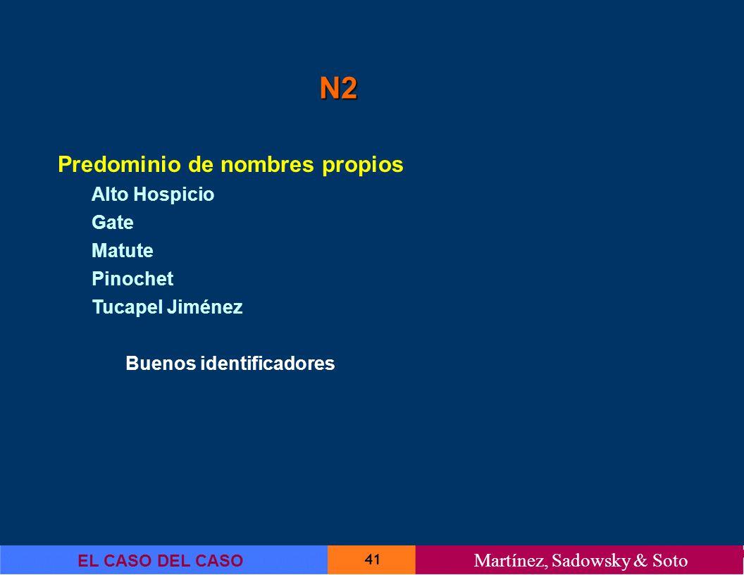41 EL CASO DEL CASO Martínez, Sadowsky & Soto N2 Predominio de nombres propios Alto Hospicio Gate Matute Pinochet Tucapel Jiménez Buenos identificador