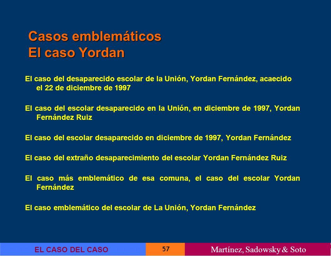 57 EL CASO DEL CASO Martínez, Sadowsky & Soto El caso del desaparecido escolar de la Unión, Yordan Fernández, acaecido el 22 de diciembre de 1997 El c