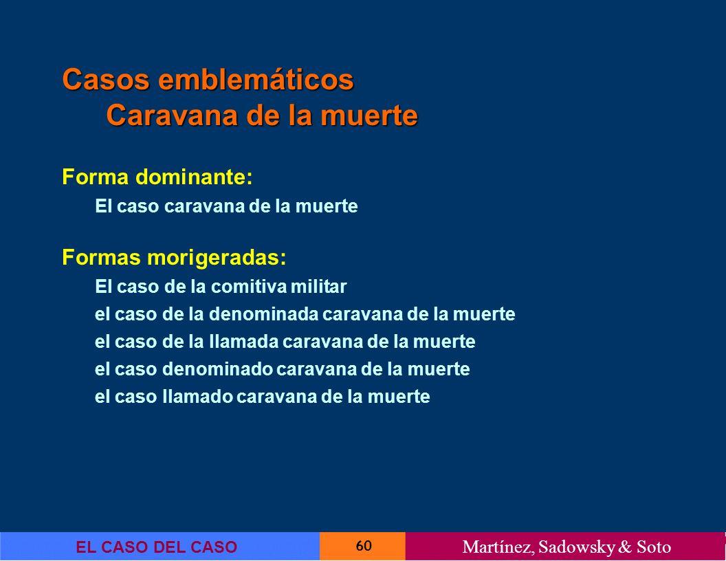 60 EL CASO DEL CASO Martínez, Sadowsky & Soto Casos emblemáticos Caravana de la muerte Forma dominante: El caso caravana de la muerte Formas morigerad