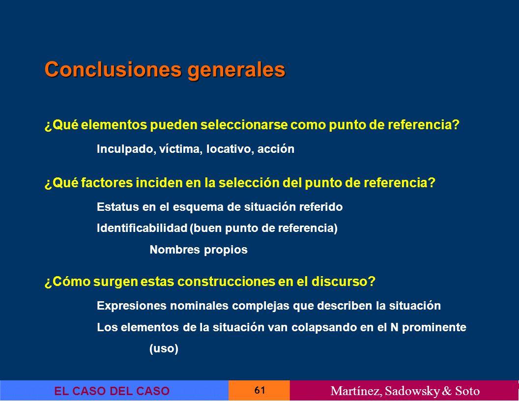 61 EL CASO DEL CASO Martínez, Sadowsky & Soto Conclusiones generales ¿Qué elementos pueden seleccionarse como punto de referencia? Inculpado, víctima,