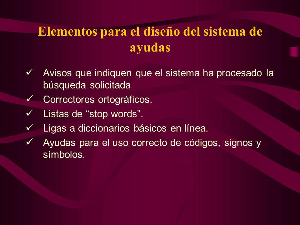 Elementos para el diseño del sistema de ayudas Avisos que indiquen que el sistema ha procesado la búsqueda solicitada Correctores ortográficos. Listas