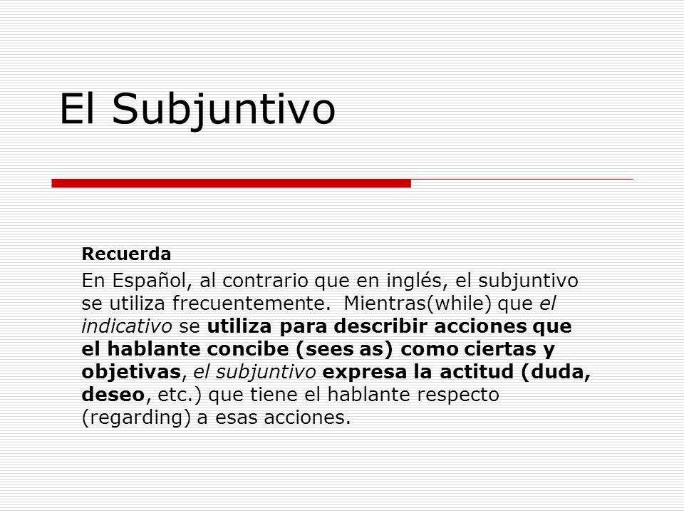 El Subjuntivo Recuerda En Español, al contrario que en inglés, el subjuntivo se utiliza frecuentemente. Mientras(while) que el indicativo se utiliza p