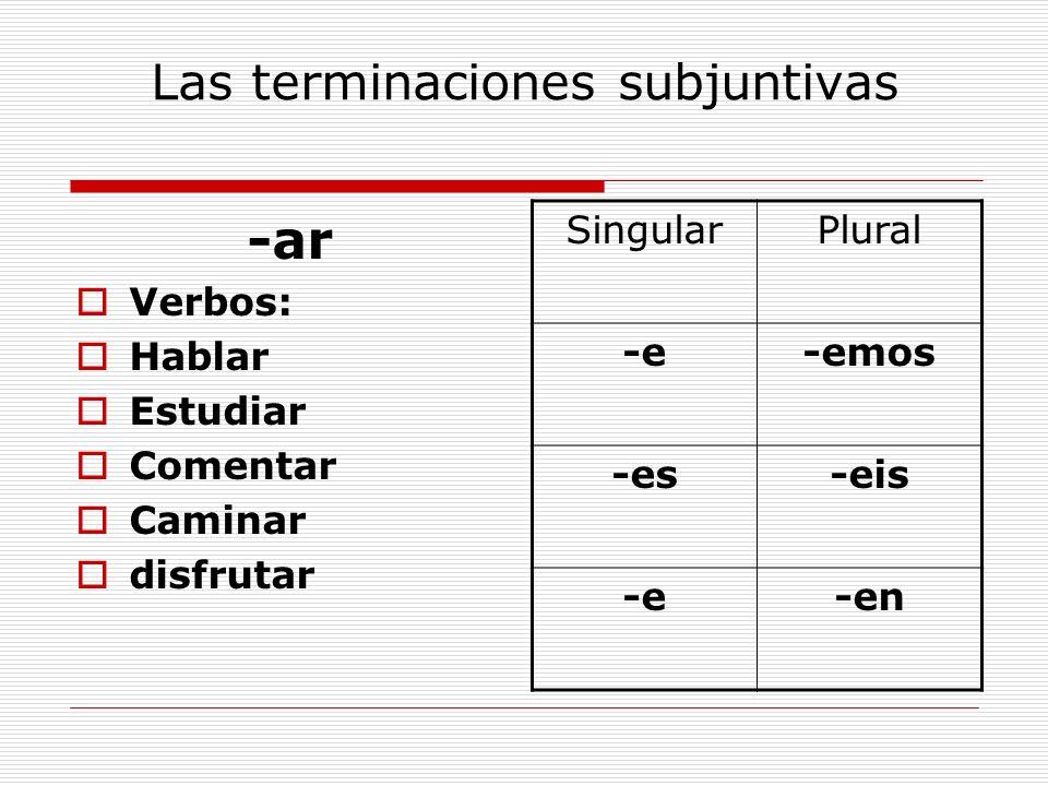 Las terminaciones subjuntivas -ar Verbos: Hablar Estudiar Comentar Caminar disfrutar SingularPlural -e-emos -es-eis -e-en