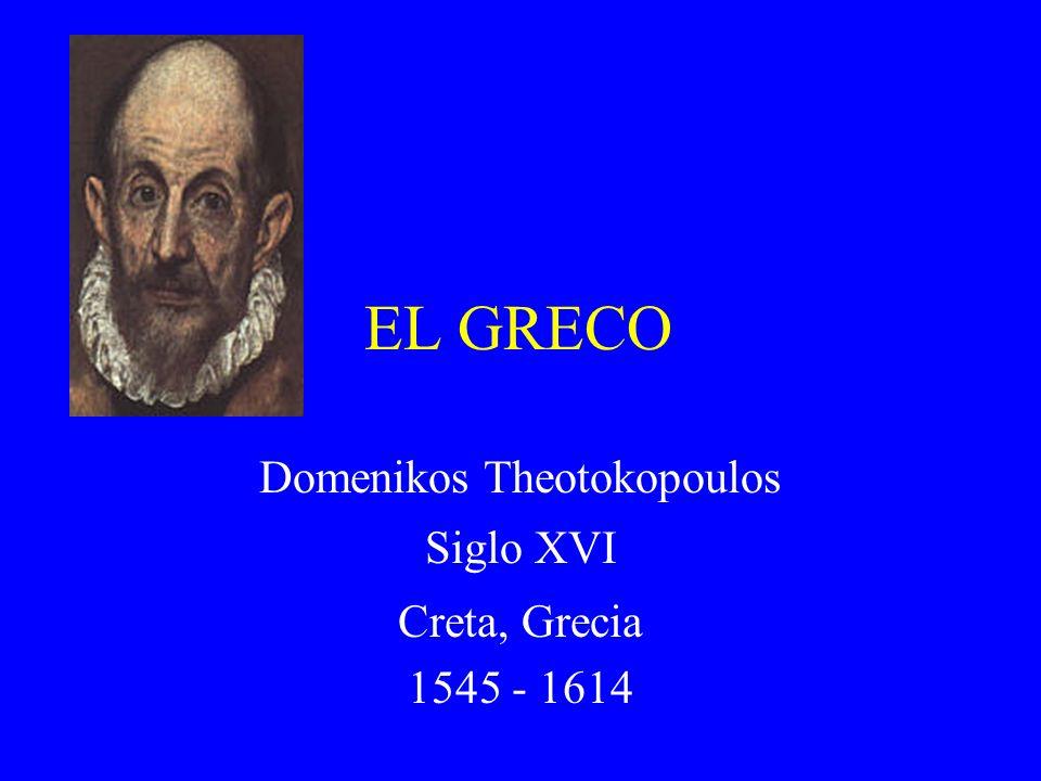 El Greco Nació en Creta y estudió en Italia con Titian y Tintoretto Del período del Manierismo como Michelangelo en Italia Se trasladó a Toledo, España en 1577 Contra-Reformación: durante este tiempo la iglesia católica trataba de dar énfasis a sus doctrinas en cuanto al Protestantismo.