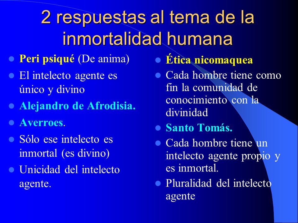 2 respuestas al tema de la inmortalidad humana Peri psiqué (De anima) El intelecto agente es único y divino Alejandro de Afrodisia. Averroes. Sólo ese