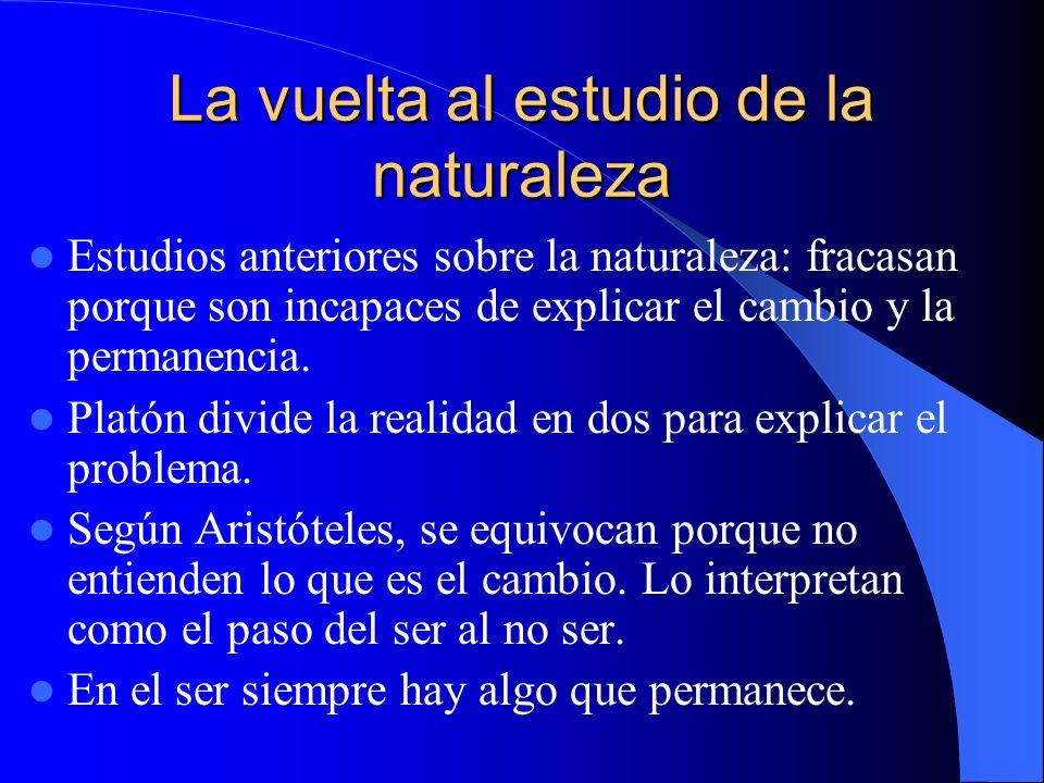 La vuelta al estudio de la naturaleza Estudios anteriores sobre la naturaleza: fracasan porque son incapaces de explicar el cambio y la permanencia. P