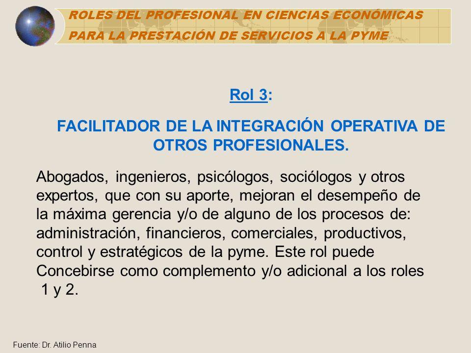 Rol 3: FACILITADOR DE LA INTEGRACIÓN OPERATIVA DE OTROS PROFESIONALES. Abogados, ingenieros, psicólogos, sociólogos y otros expertos, que con su aport