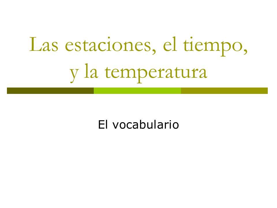 Las estaciones, el tiempo, y la temperatura El vocabulario