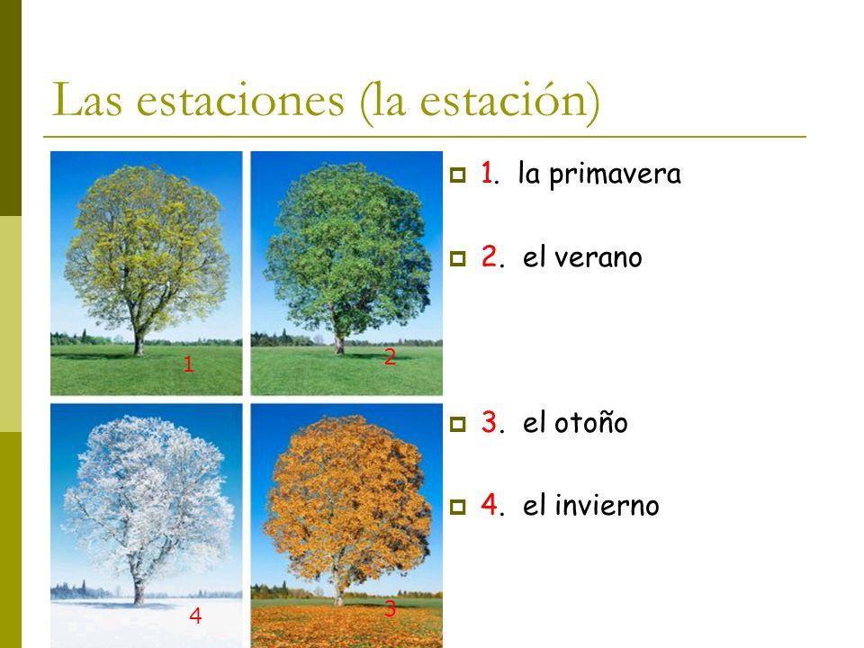 Las estaciones (la estación) 1. la primavera 2. el verano 3. el otoño 4. el invierno 1 2 3 4