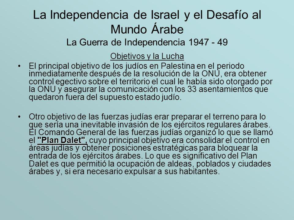 La Independencia de Israel y el Desafío al Mundo Árabe La Guerra de Independencia 1947 - 49 Objetivos y la Lucha El principal objetivo de los judíos e