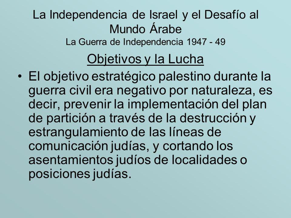 La Independencia de Israel y el Desafío al Mundo Árabe La Guerra de Independencia 1947 - 49 Objetivos y la Lucha El objetivo estratégico palestino dur