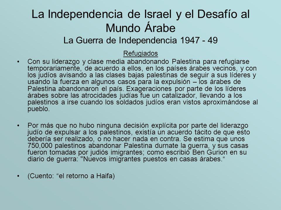 La Independencia de Israel y el Desafío al Mundo Árabe La Guerra de Independencia 1947 - 49 Refugiados Con su liderazgo y clase media abandonando Pale