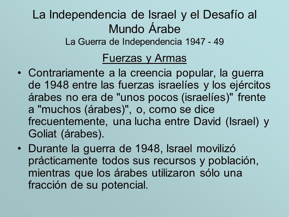 La Independencia de Israel y el Desafío al Mundo Árabe La Guerra de Independencia 1947 - 49 Fuerzas y Armas Contrariamente a la creencia popular, la g