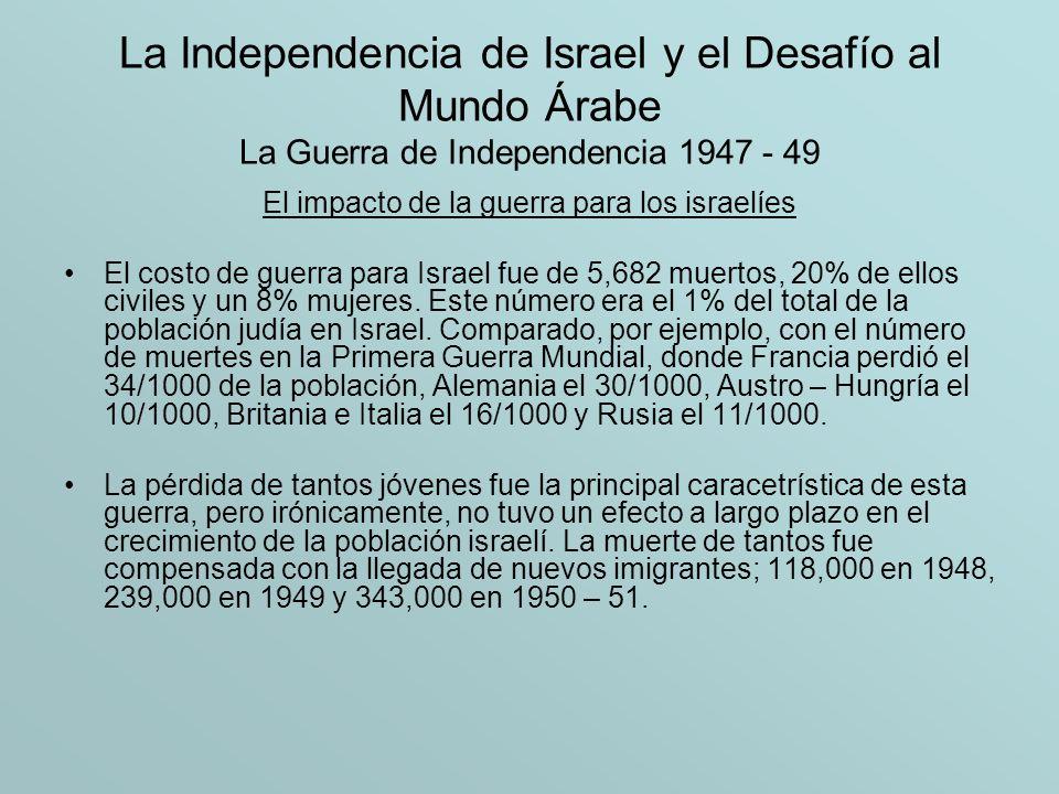 La Independencia de Israel y el Desafío al Mundo Árabe La Guerra de Independencia 1947 - 49 El impacto de la guerra para los israelíes El costo de gue