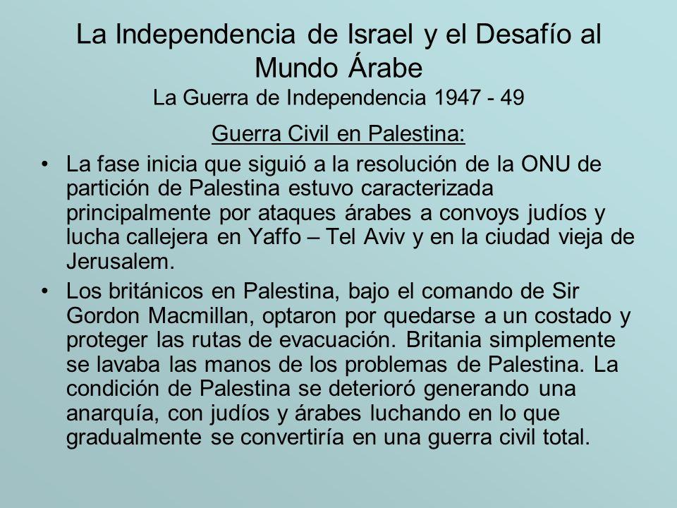 La Independencia de Israel y el Desafío al Mundo Árabe La Guerra de Independencia 1947 - 49 Fuerzas y Armas Contrariamente a la creencia popular, la guerra de 1948 entre las fuerzas israelíes y los ejércitos árabes no era de unos pocos (israelíes) frente a muchos (árabes) , o, como se dice frecuentemente, una lucha entre David (Israel) y Goliat (árabes).
