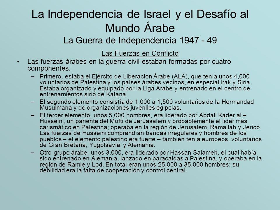 La Independencia de Israel y el Desafío al Mundo Árabe La Guerra de Independencia 1947 - 49 Objetivos y la Lucha El principal objetivo de los judíos en Palestina en el periodo inmediatamente después de la resolución de la ONU, era obtener control egectivo sobre el territorio el cual le había sido otorgado por la ONU y asegurar la comunicación con los 33 asentamientos que quedaron fuera del supuesto estado judío.