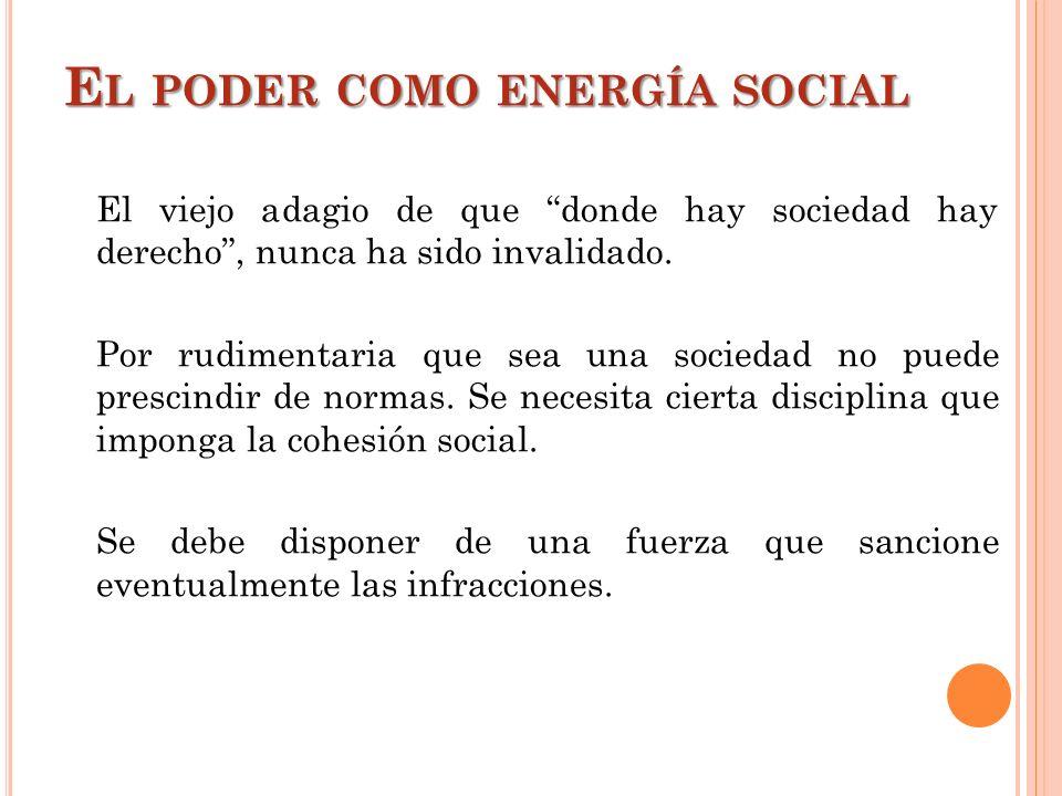 E L PODER COMO ENERGÍA SOCIAL El viejo adagio de que donde hay sociedad hay derecho, nunca ha sido invalidado. Por rudimentaria que sea una sociedad n