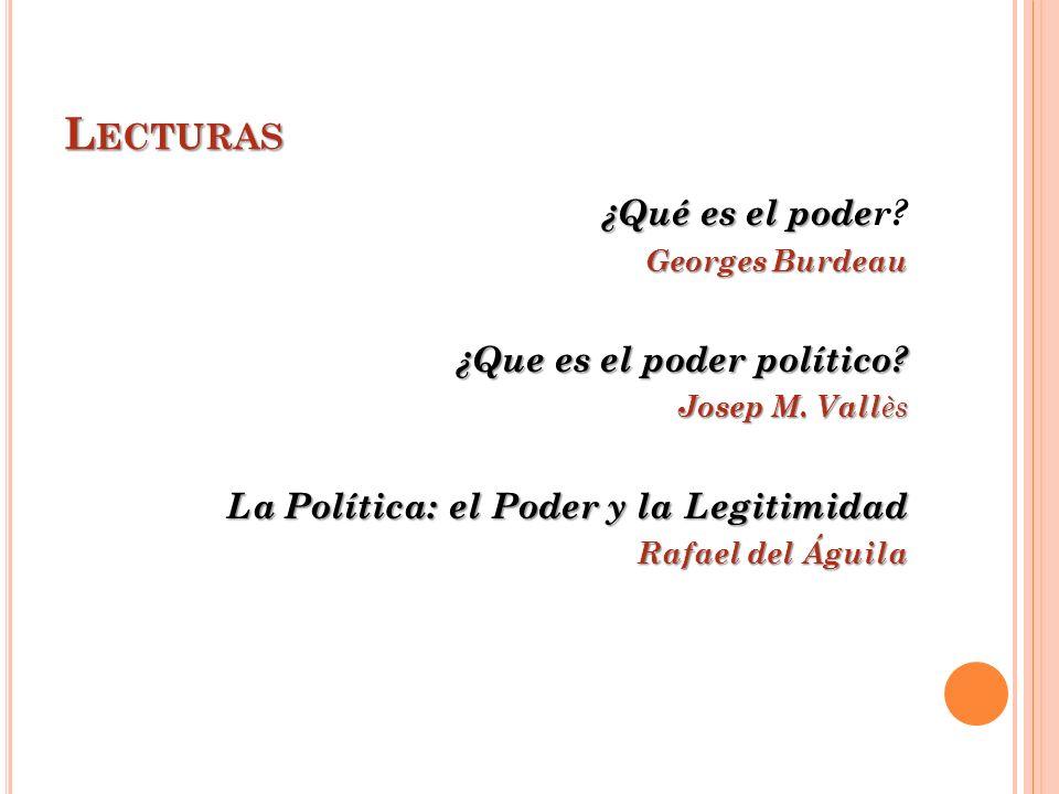 L ECTURAS ¿Qué es el pode ¿Qué es el poder? Georges Burdeau ¿Que es el poder político? Josep M. Vall ès La Política: el Poder y la Legitimidad Rafael