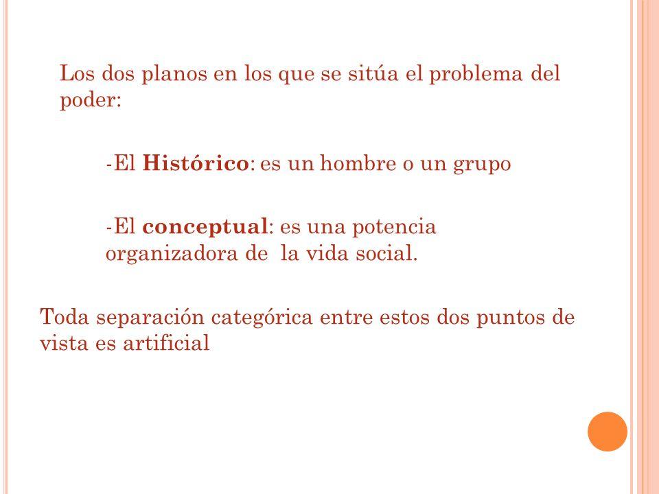 Los dos planos en los que se sitúa el problema del poder: -El Histórico : es un hombre o un grupo -El conceptual : es una potencia organizadora de la