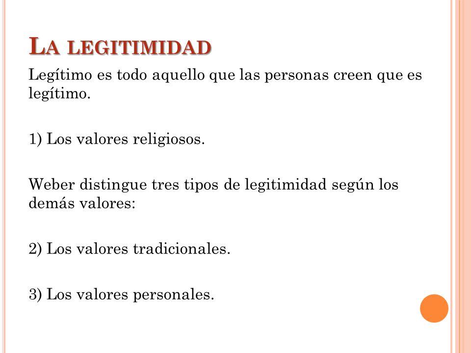 L A LEGITIMIDAD Legítimo es todo aquello que las personas creen que es legítimo. 1) Los valores religiosos. Weber distingue tres tipos de legitimidad
