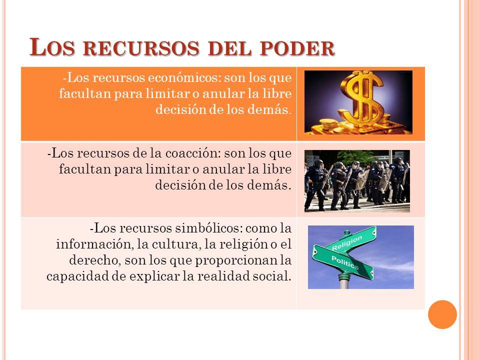 L OS RECURSOS DEL PODER -Los recursos económicos: son los que facultan para limitar o anular la libre decisión de los demás. -Los recursos de la coacc