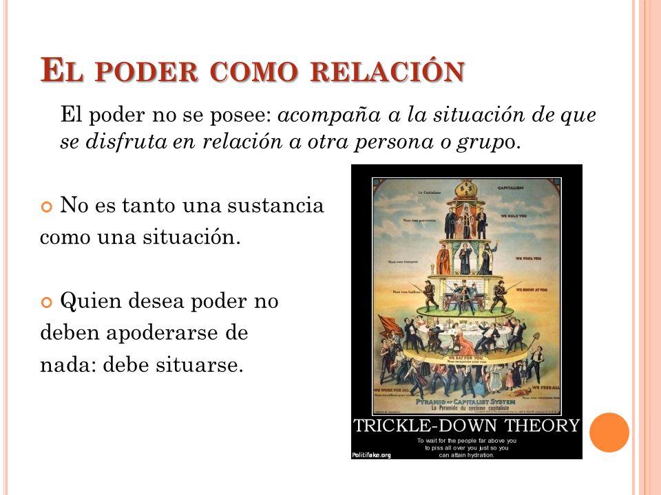 E L PODER COMO RELACIÓN El poder no se posee: acompaña a la situación de que se disfruta en relación a otra persona o grup o. No es tanto una sustanci