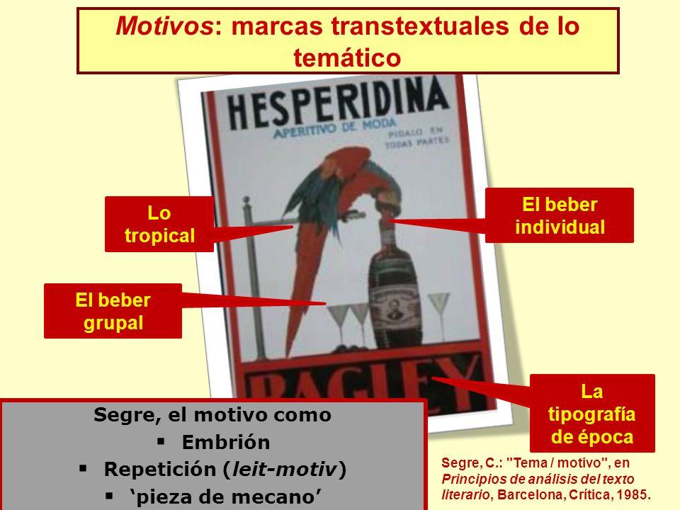 Lo tropical El beber grupal La tipografía de época El beber individual Segre, el motivo como Embrión Repetición (leit-motiv) pieza de mecano Motivos: