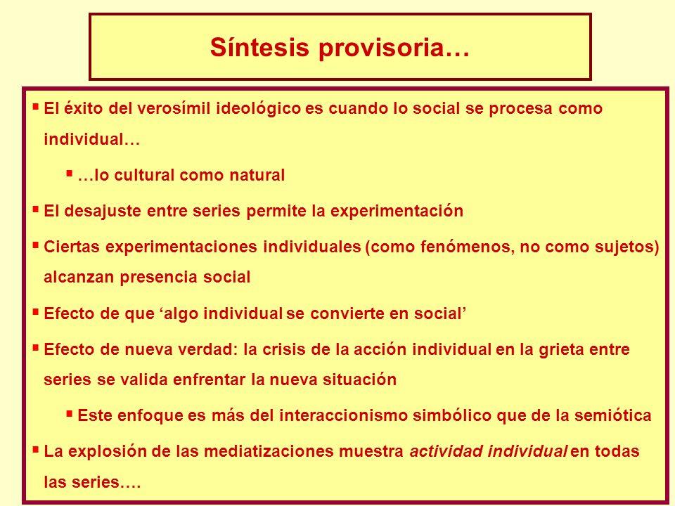18 Síntesis provisoria… El éxito del verosímil ideológico es cuando lo social se procesa como individual… …lo cultural como natural El desajuste entre