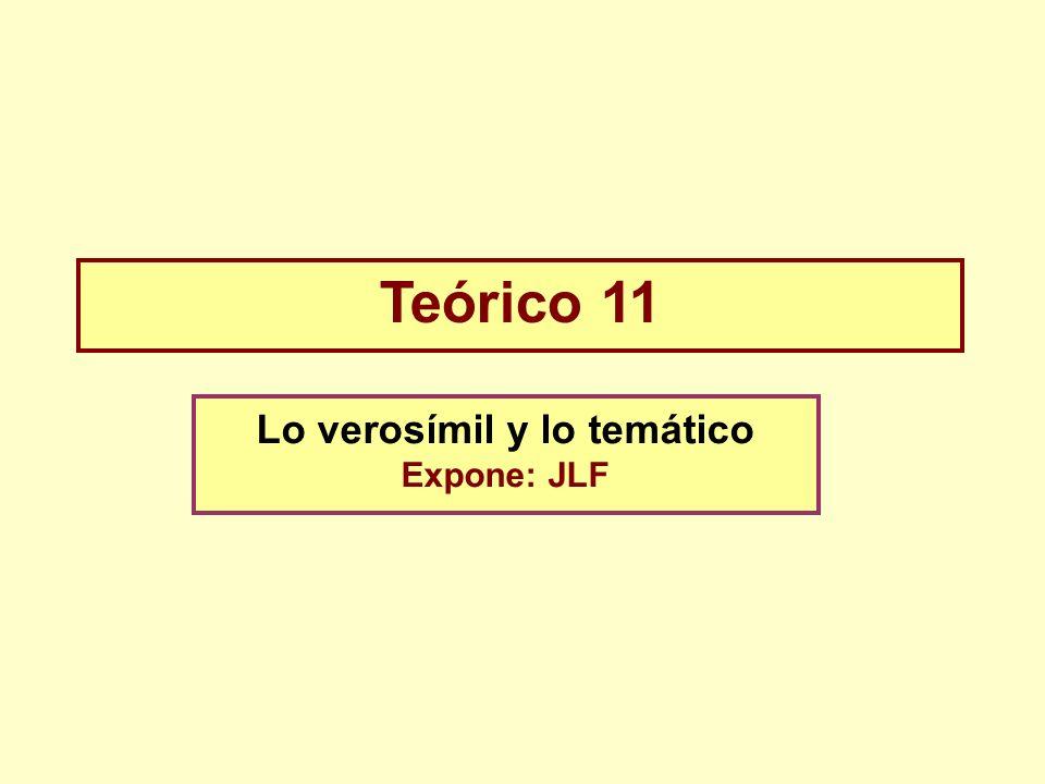 Teórico 11 Lo verosímil y lo temático Expone: JLF